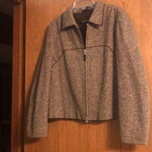 Ellen Tracey brown tweed fall jacket/blazer